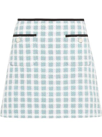 Miu Miu Checked Tweed Skirt