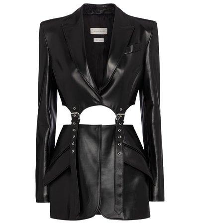 Alexander McQueen - Belted leather blazer | Mytheresa