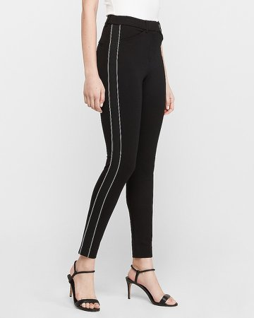 Mid Rise Piped Skinny Pant