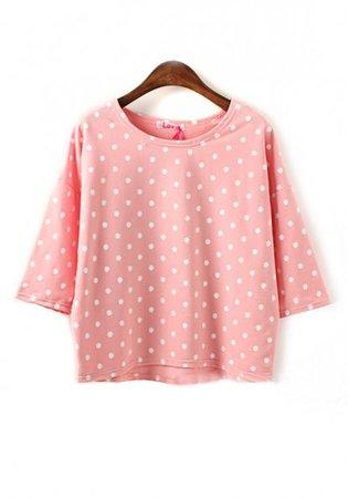 Pink Polka Dot Half Sleeve Loose Cotton T-Shirt - T-Shirts - Tops