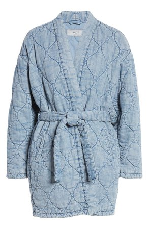 BLANKNYC Quilted Indigo Wrap Jacket | Nordstrom
