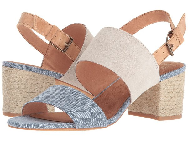 TOMS - Poppy (Birch Suede/Blue Chambray) Women's Sandals