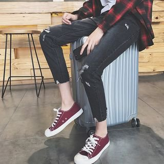 YERGO Cropped Straight Cut Ripped Jeans | YesStyle
