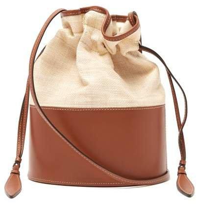 Lola Raffia And Leather Shoulder Bag - Womens - Tan Multi