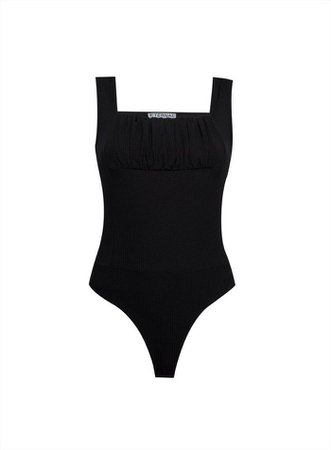 PETITE Ruched Bust Rib Bodysuit | Miss Selfridge