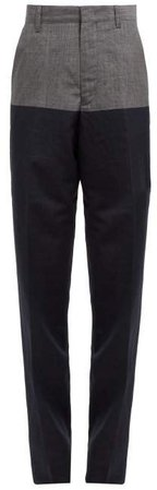 Panelled Checked Wool Blend Trousers - Womens - Navy Multi