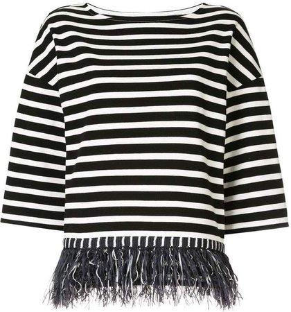 fringed striped T-shirt
