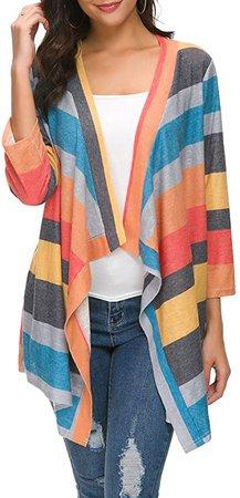 BISHUIGE Women's 3/4 Sleeve Kimono Loose Cardigan Sweaters X-Large, Orange at Amazon Women's Clothing store