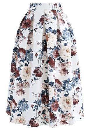 Pleated Baroque Floral Print Midi Skirt - Retro, Indie and Unique Fashion