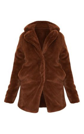 Petite Chocolate Brown Faux Fur Coat   Petite   PrettyLittleThing