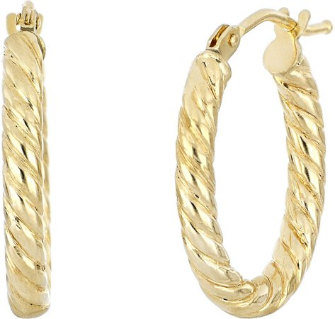 Twisted Oval Gold Hoop Earrings