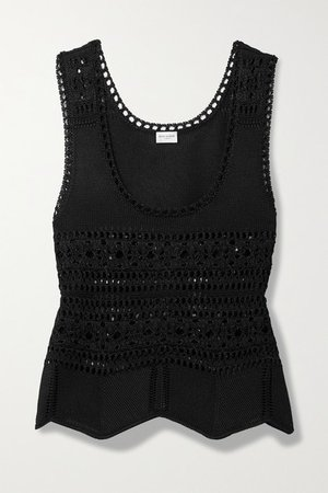 Crochet-knit Tank - Black