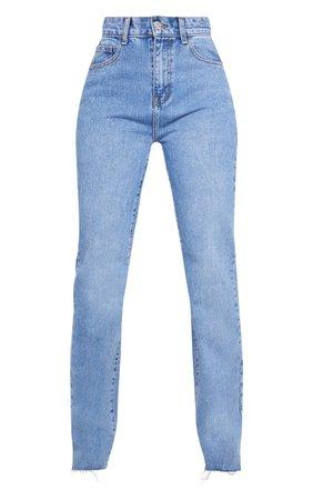 Mid Blue Wash Straight Leg Jeans | Denim | PrettyLittleThing USA