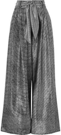 Lamé Wide-leg Pants - Silver