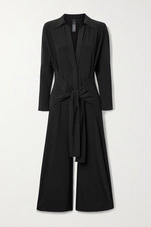 Tie-front Stretch-jersey Jumpsuit - Black
