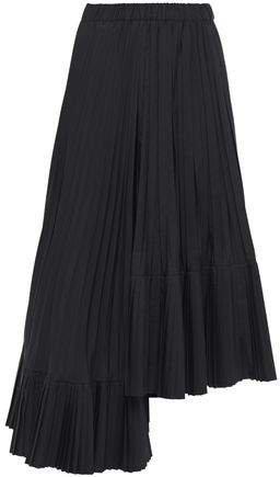 Asymmetric Pleated Poplin Midi Skirt