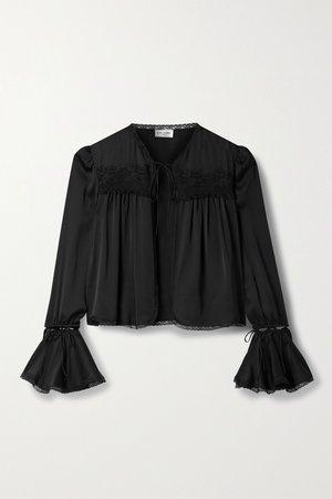 Black Convertible lace-trimmed silk blouse | SAINT LAURENT | NET-A-PORTER