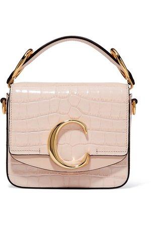 Chloé   Chloé C mini suede-trimmed croc-effect leather shoulder bag   NET-A-PORTER.COM