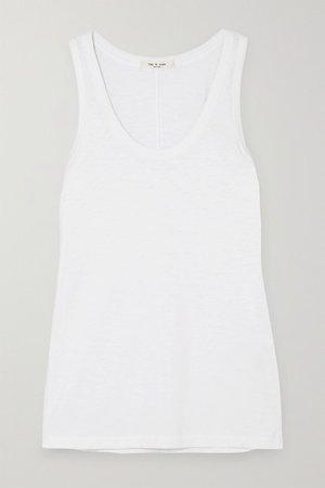 Slub Stretch-pima Cotton-jersey Tank - White