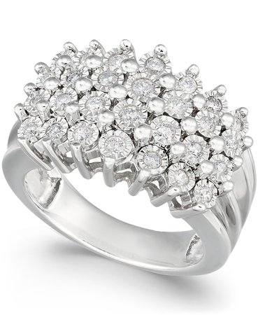 Macy's Diamond Multi-Row Sterling Silver Ring