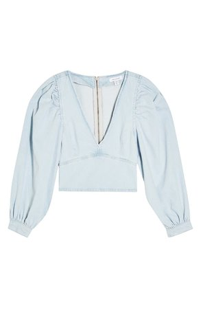 Topshop Puff Sleeve Denim Crop Top blue
