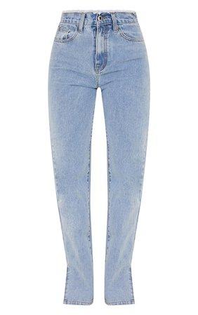 Light Blue Wash Distressed Waistband Split Hem Jeans   PrettyLittleThing USA