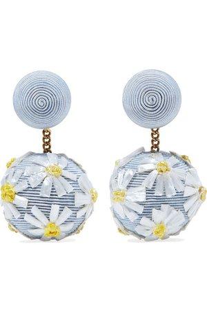 Rebecca de Ravenel   Forget Me Not cord and raffia earrings   NET-A-PORTER.COM