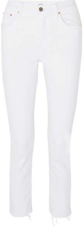 Reed Cropped Mid-rise Slim-leg Jeans - White