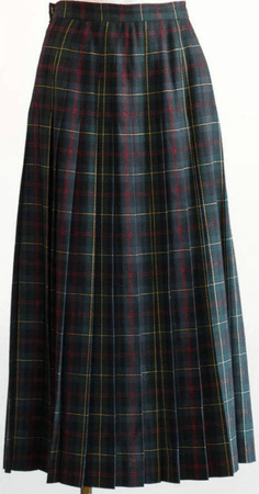 Long Plaid Pleated Wool Skirt | Etsy