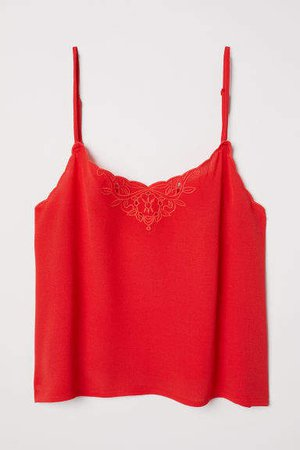Scalloped-edge Camisole Top - Red