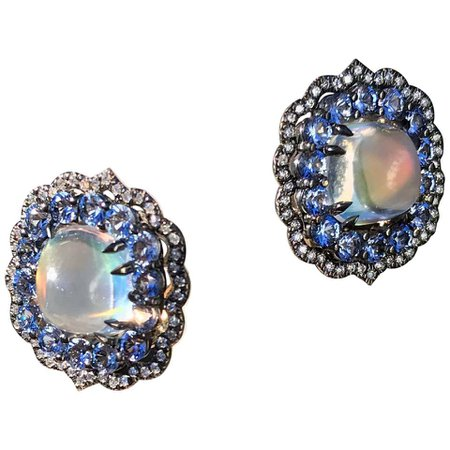 Rainbow Moonstone Earrings with Blue Sapphire and Diamond Accent For Sale at 1stDibs