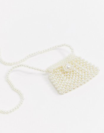 My Accessories London mini airbuds neck pouch bag in pearl   ASOS