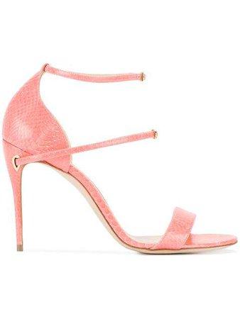 Jennifer Chamandi Coral Pink Rolando 105 Snake Sandals - Farfetch