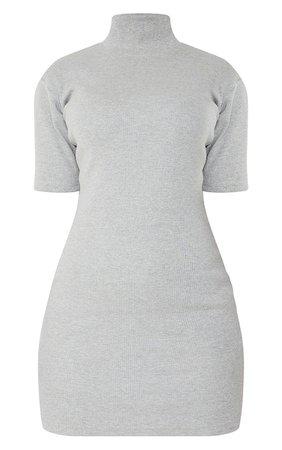 Grey Marl Rib High Neck Short Sleeve T Shirt Dress | PrettyLittleThing USA