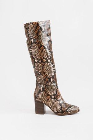 Chrissy Snake Print Boots | francesca's