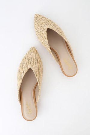 Dolce Vita Grant - Blue Woven Loafers - Raffia Slides - Flats