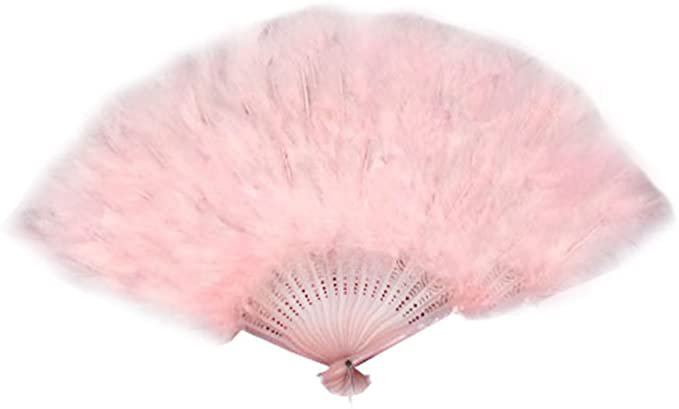 Amazon.com: Large Baby Pink Feather Hand Fan New for Halloween costume: Clothing