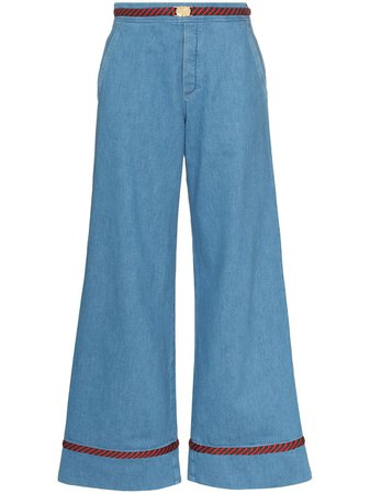 Gucci Web Trim Wide-Leg Jeans Ss20 | Farfetch.com