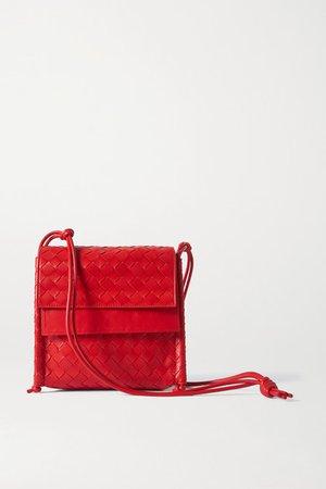 Fold Intrecciato Leather Shoulder Bag - Red