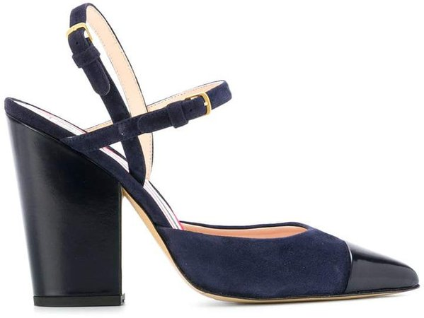 High-Block D'orsay Slingback Heel In Leather