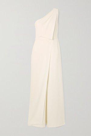One-shoulder Draped Crepe Jumpsuit - White