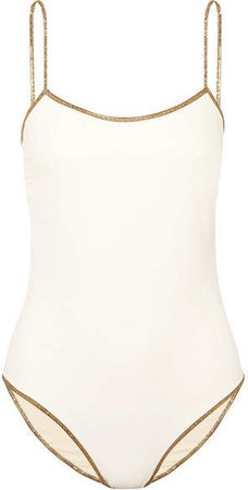 Bridgehampton Reversible Lurex-trimmed Swimsuit - White