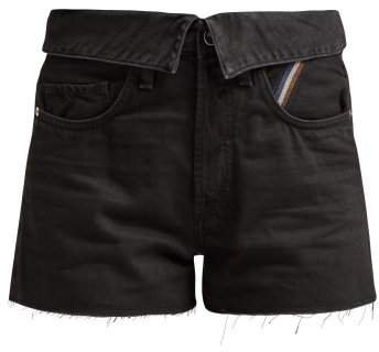 Jean Flip Fold Over Denim Shorts - Womens - Black