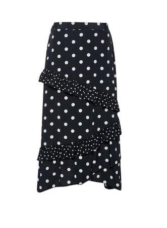 Black Polka Dot Print Midi Skirt   Dorothy Perkins