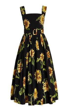 Floral-Printed Cotton-Blend Midi Dress By Oscar De La Renta   Moda Operandi