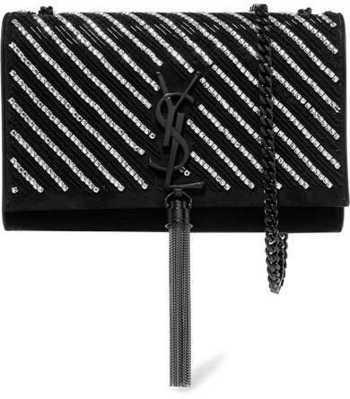 Monogramme Kate Small Crystal-embellished Velvet Shoulder Bag - Black