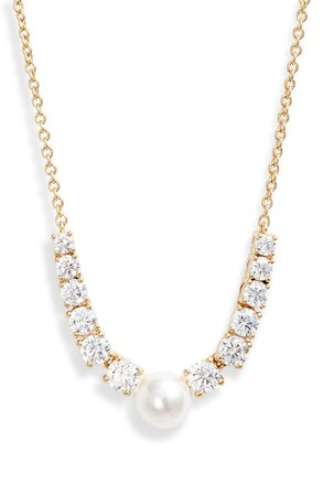 Nadri Camila Imitation Pearl & Cubic Zirconia Frontal Necklace | Nordstrom