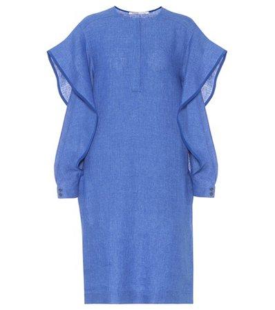 Linen ruffled split-sleeve dress