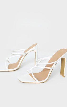 White Flat Heel Tube Strappy Mule Sandal | PrettyLittleThing USA