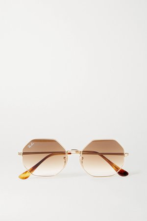 Gold Hexagon-frame gold-tone and tortoiseshell acetate sunglasses | Ray-Ban | NET-A-PORTER